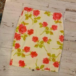 Ann Taylor Rose Print  pencil skirt 6
